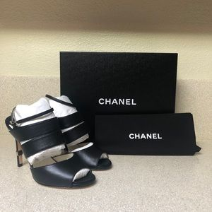 CHANEL CCLambskin Leather Heel Black 37 / 7